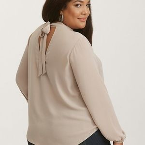 Taupe Georgette Mock Neck Tie Back Top